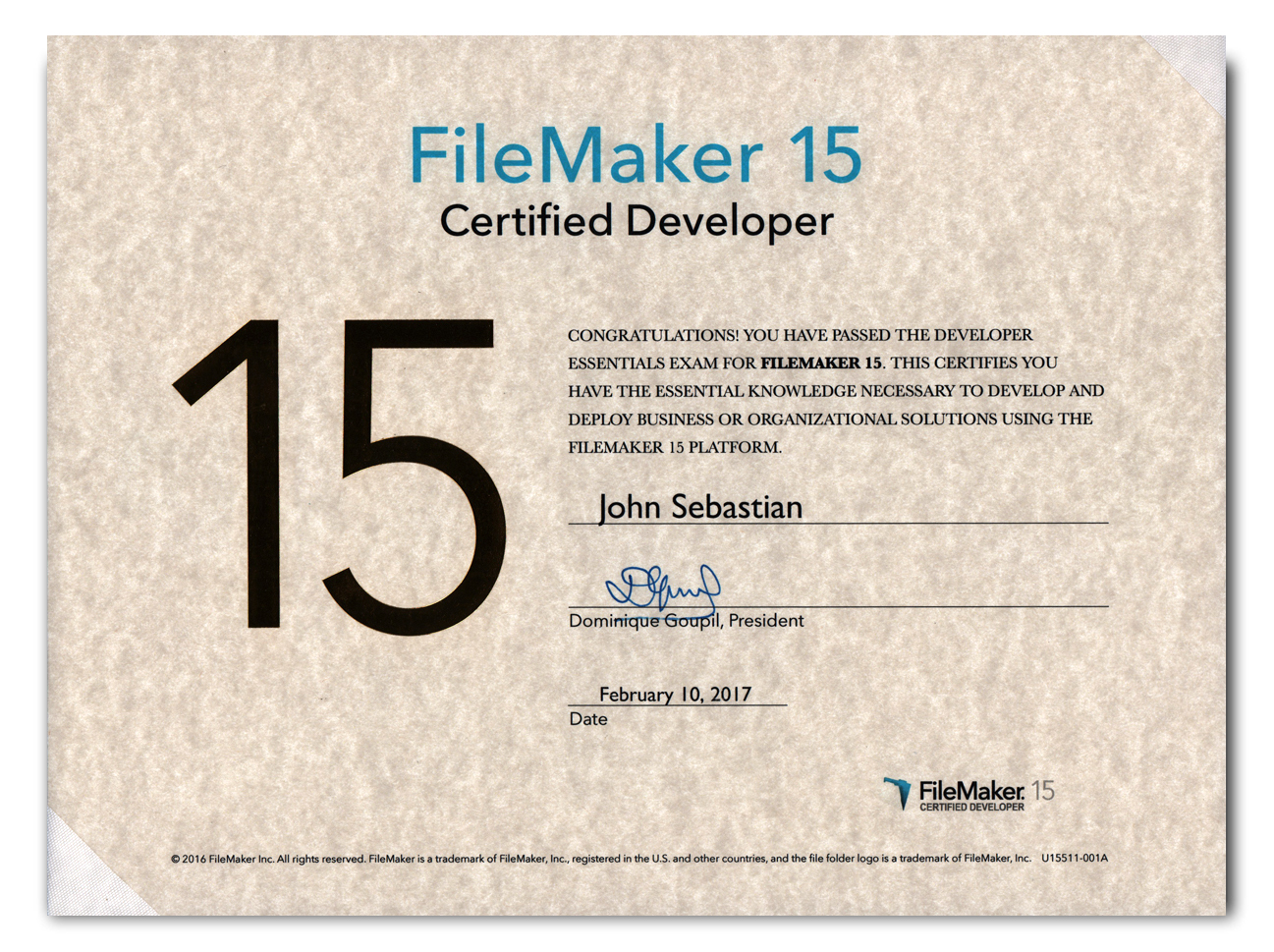 FileMaker Pro Certified Developer, Version 15