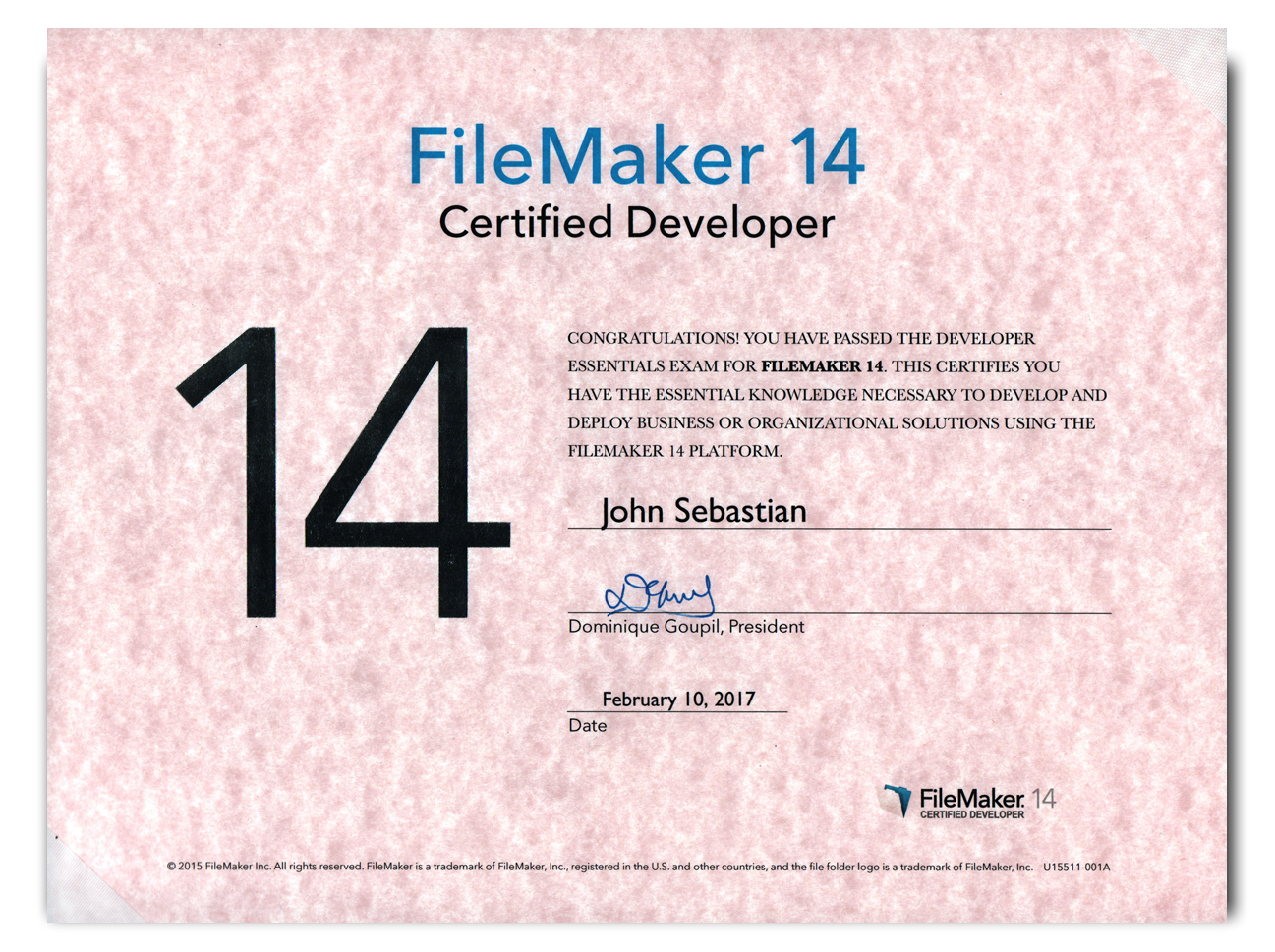 FileMaker Pro Certified Developer, Version 14